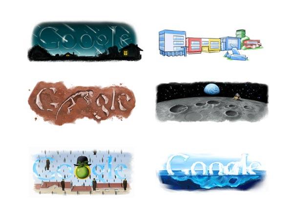 Några varianter av googles logotyp